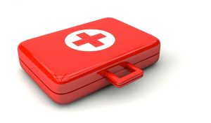 The first aid kit.
