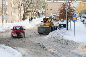 Winter, plough, street, snow, cars